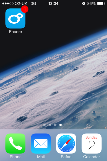 mobile learning app iphone homescreen with encore app icon